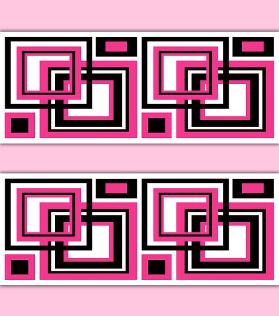 HOT PINK GEOMETRIC Square Wallpaper Border Decal Abstract Wall Art ...