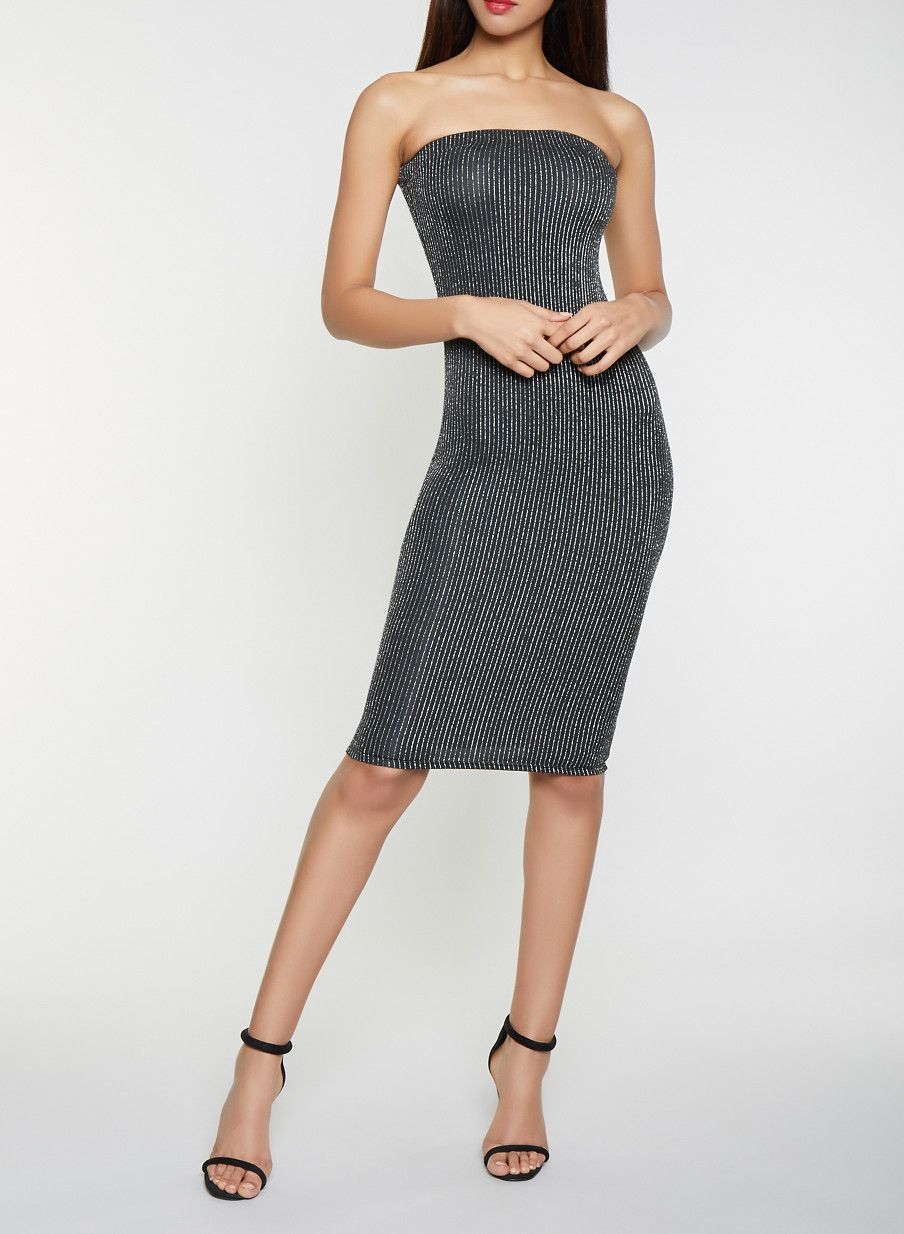 Glitter Striped Tube Dress - SILVER - Size M