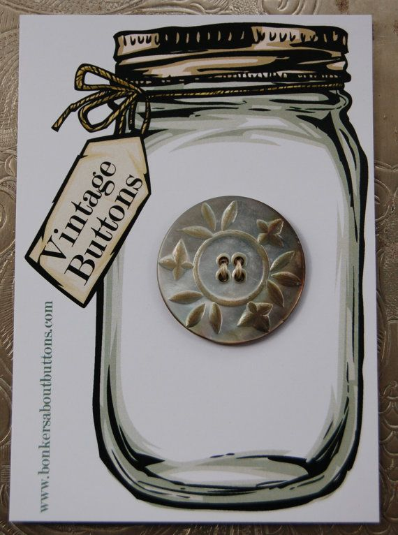 Large Vintage Carbed Mother of Pearl Button by bonkersaboutbuttons, £4.50