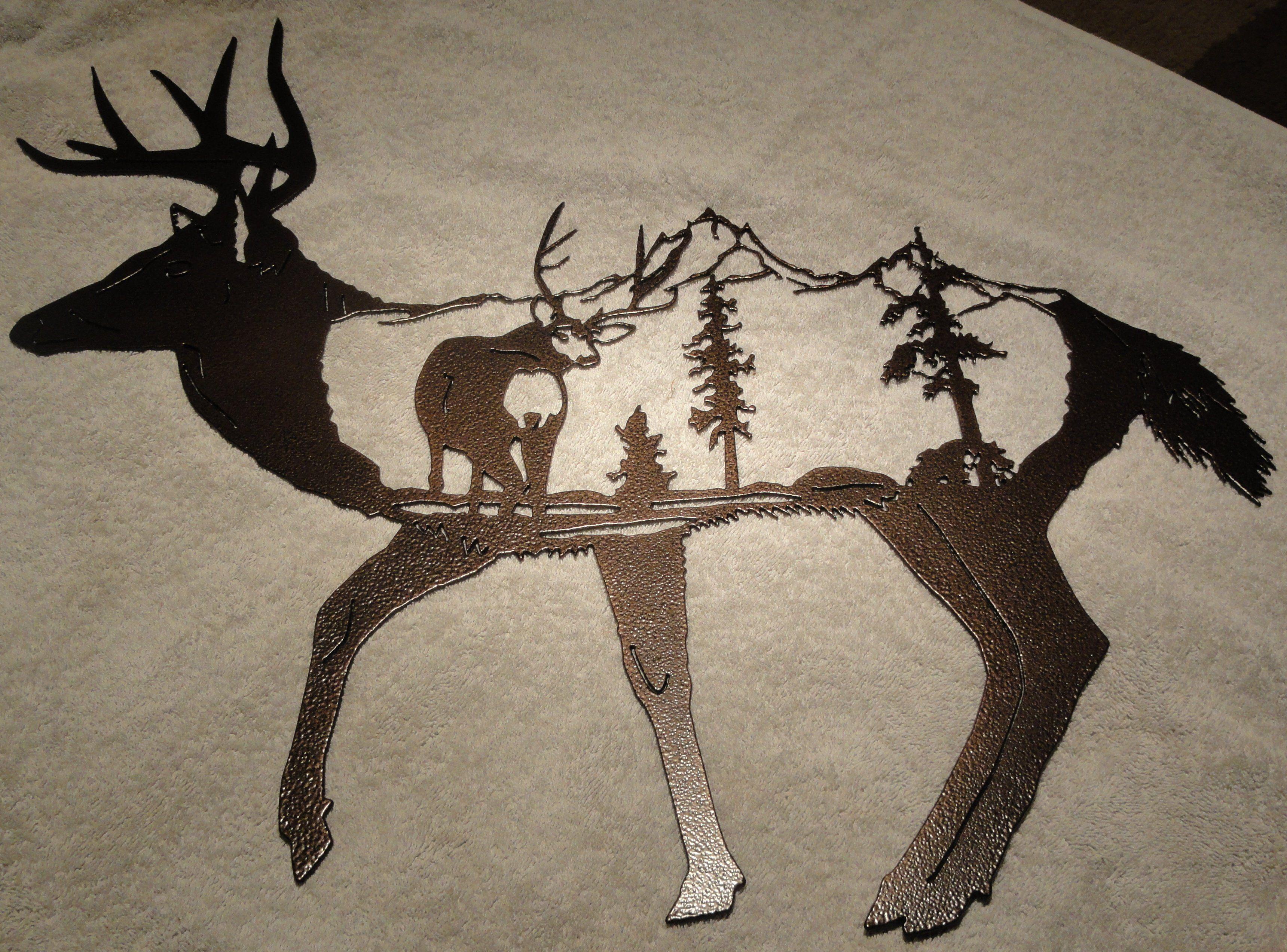 Deer with deer scene metal wall art metal tree wall art ideas