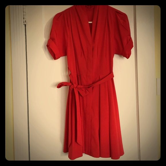 Ark & Co red fit & flare dress with tie Red, poly/span dress with flattering pleat details. Mid thigh length. Ark & Co Dresses