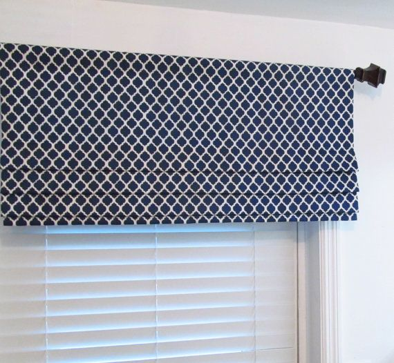 Faux Roman Shade Lined Mock Valance Navy Blue White Quatrefoil