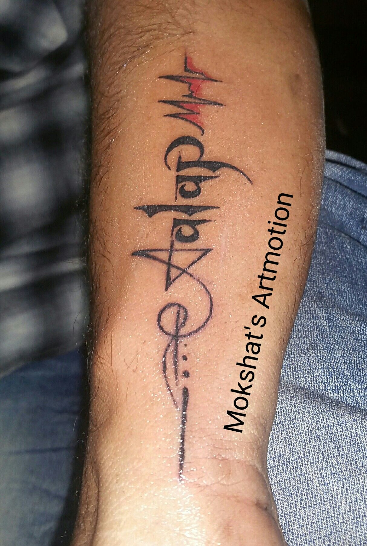 Aalap name tattoo designs and tattooed by Mokshat's