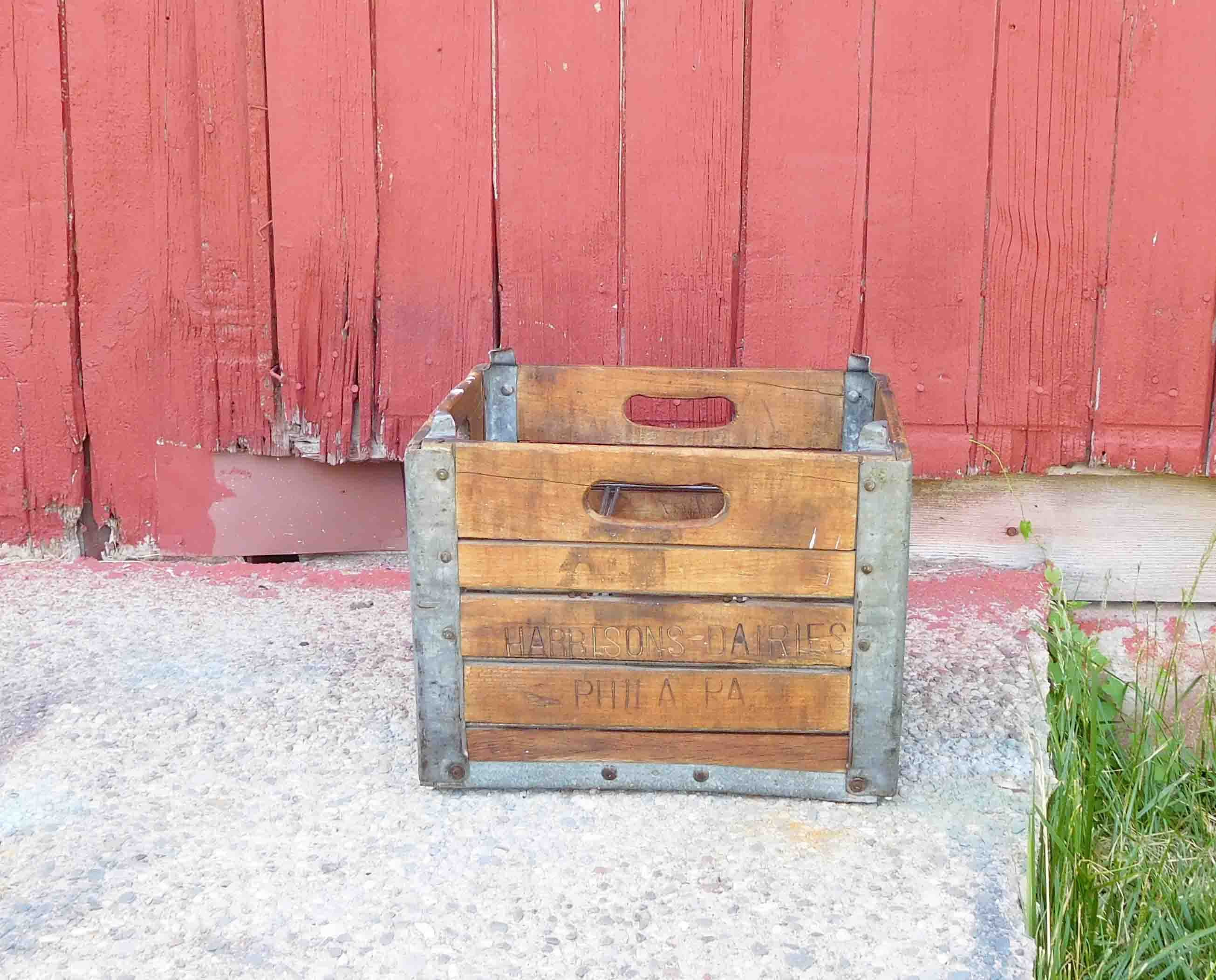 Vintage Wooden Milk Crate Harbisons Dairies Phila Pa With Metal Carrier All Original Primitive Milk Crates Wood Boxes Crates