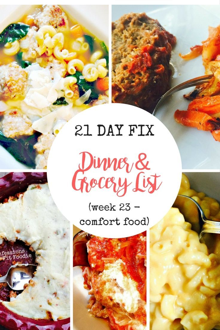21 Day Fix Meal Plan & Grocery List | Confessions of a Fit Foodie-#Confessions