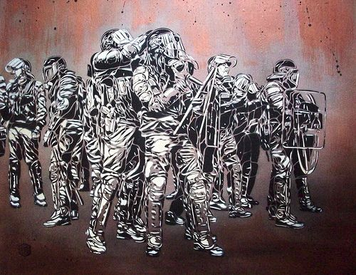 C215 - Riot scene by C215