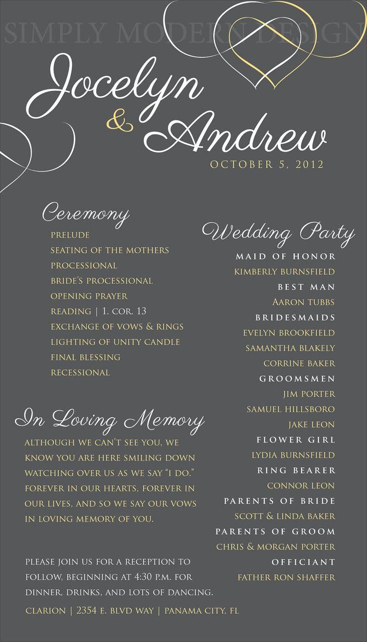 One Page Elegant Printable Wedding Ceremony Program