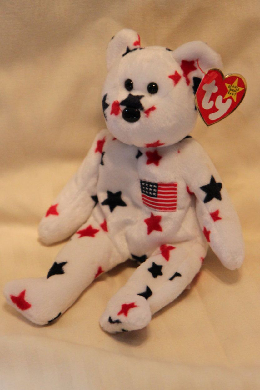 Original MINT TY Beanie Baby Glory the Bear - Retired - Rare -PE pellets -  Tag Errors - No Stamp by ShandleMcKins on Etsy 56b3159e55c0