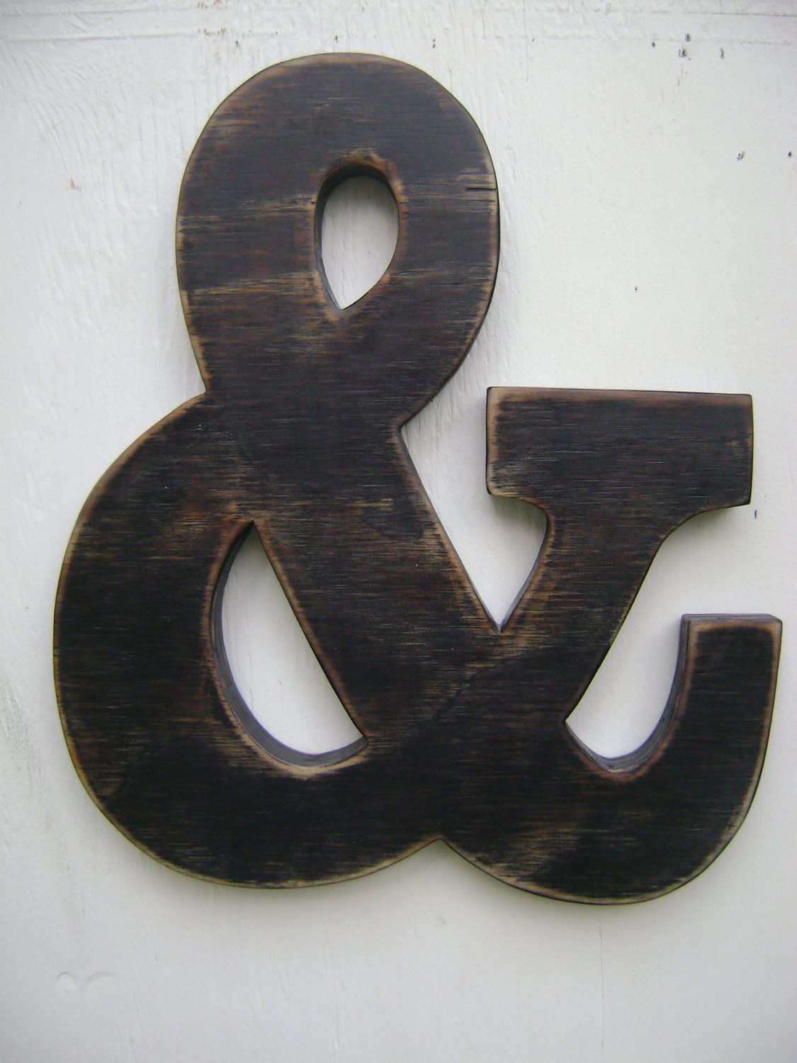 ampersand and sign rustic wall hanging wooden letters shabby chic decor black 2800