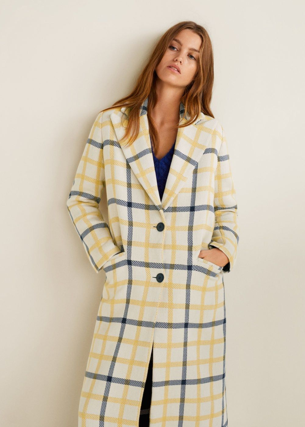 5aa0bb996427 Checked structured coat - Women