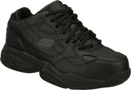 Skechers Women's Work Felix Doozer Skechers. $48.99. Get the job done in comfort in this durable safety toe oxford. Tie closure. leather. rubber sole. Leather overlays for added durability. Leather upper. Padded collar and tongue