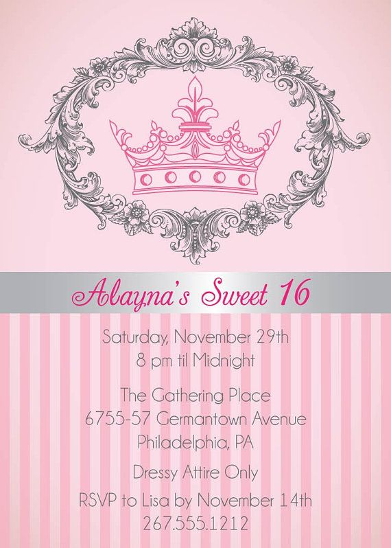 Sweet 16 Invitation Princess Birthday Invitation Royal Tiara