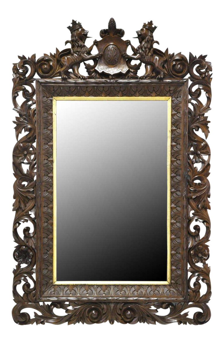 ee48ac377e3d 19th Century German Carved Black Forest Walnut Mirror on Chairish ...