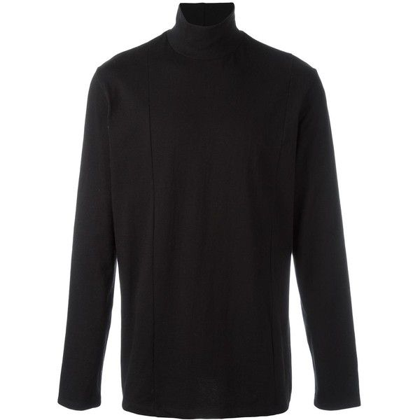 Plac cutout turtleneck T-shirt ($60) ❤ liked on Polyvore featuring men's fashion, men's clothing, men's shirts, men's t-shirts, black, mens turtleneck shirt, mens cotton shirts, mens turtle neck shirts, mens cotton t shirts and mens polo v neck t shirts