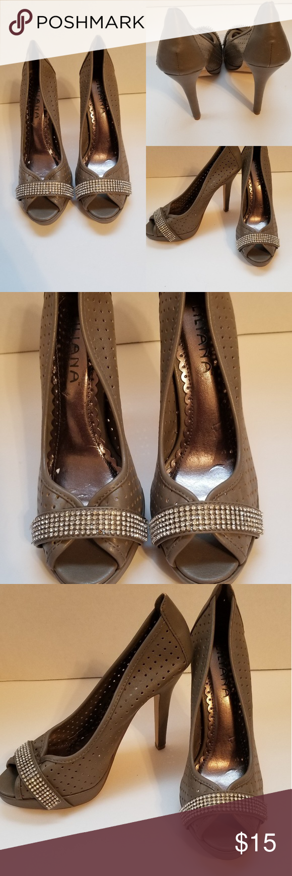 236942cdd83 Liliana gray heels Size 8.5 Diamond studded Grey 5 inch heel Small scuff on  the front Over all great condition Liliana Shoes Heels