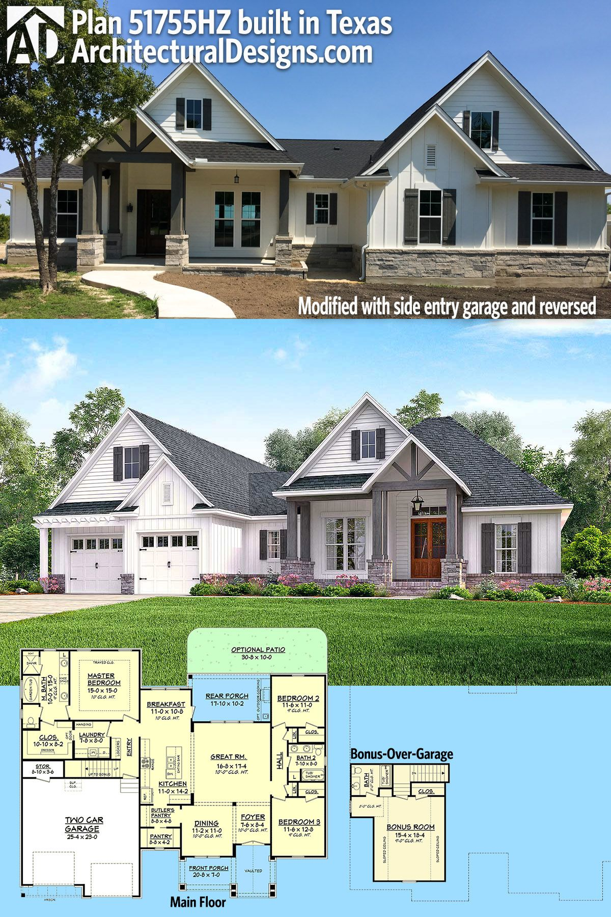 plan 51755hz 3 bed contemporary craftsman with bonus over garage