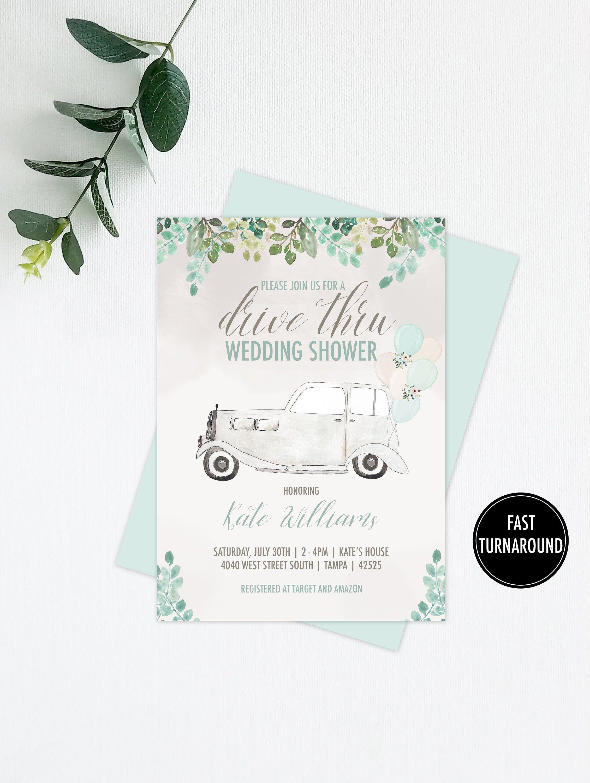 Drive thru ivy wedding shower invitation digital file
