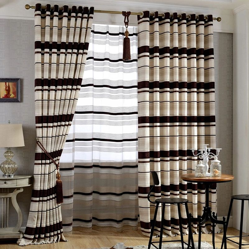 Thick Chenille Brown Beige Room, Black And Brown Curtains