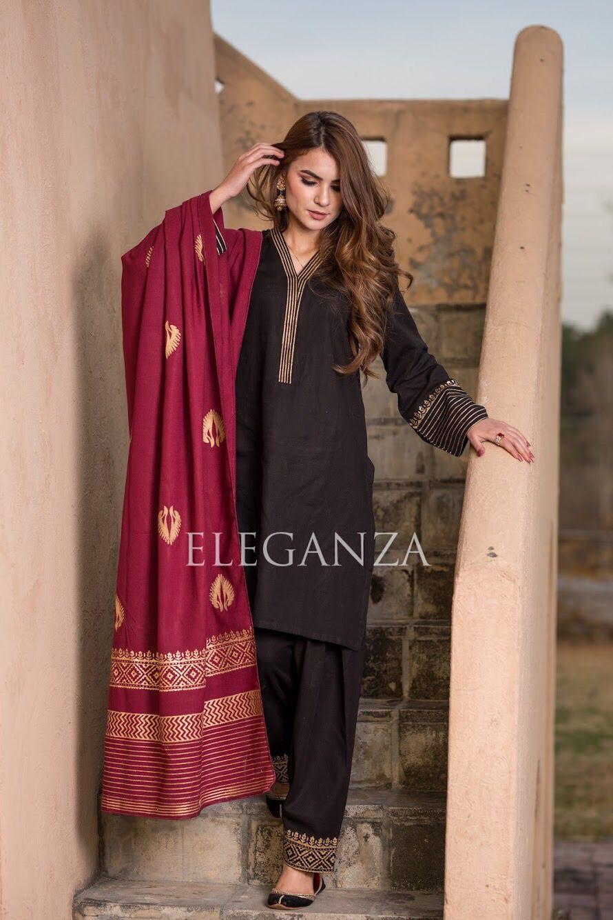 Kd 03 Black Suit With Cherry Maroon Shawl Eleganza Pakistani Kurta Designs Pakistani Fashion Casual Pakistani Fashion Party Wear [ 1334 x 890 Pixel ]