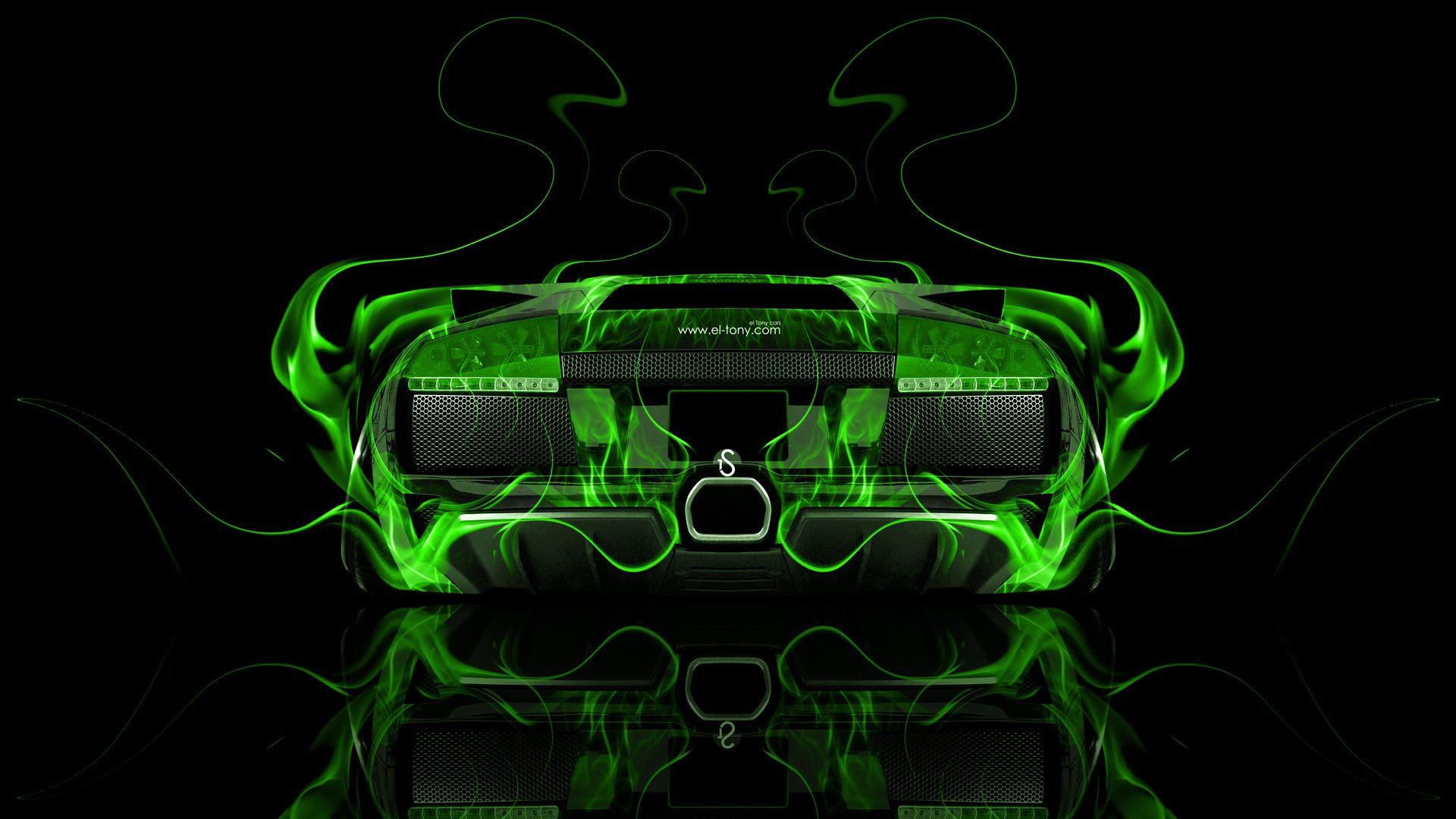 Great Lamborghini Murcielago Back Green Fire Abstract Car 2014