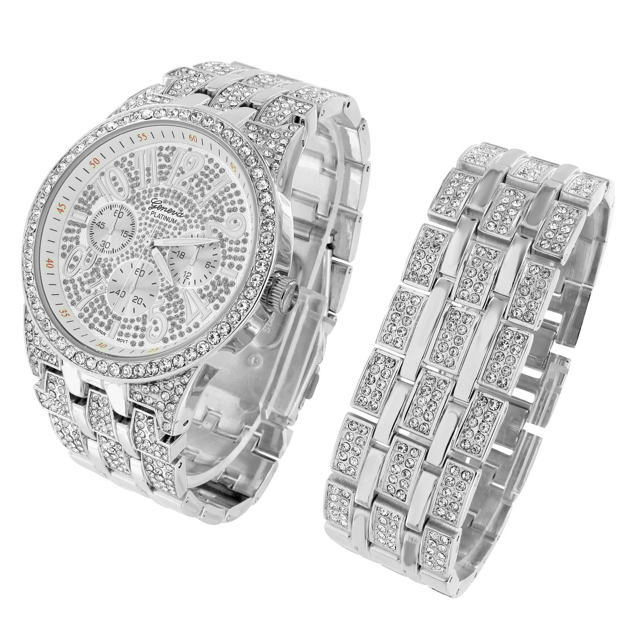 Rectangle face watch iced out simulated diamonds matching bracelet