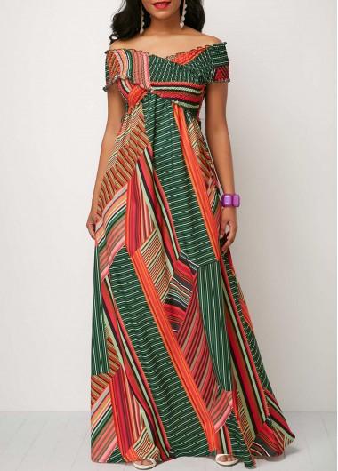 2c26881b3f9 Color Block Scoop Neck High Waist Maxi Dress