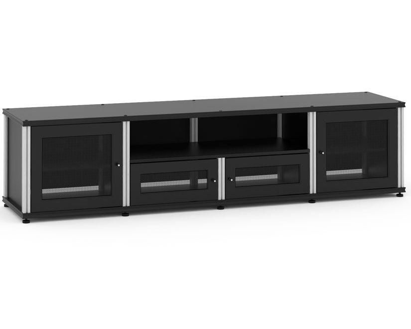Salamander Synergy Model245 Quad-Width Audio Video Cabinet (Black with Aluminum) #audiovideo