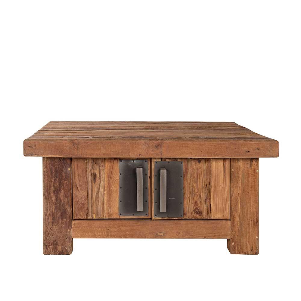 Wohnzimmertisch aus Teak Recyclingholz mit Türen Jetzt bestellen ...