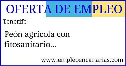 Oferta Empleo Tenerife Peón Agrícola Con Fitosanitario
