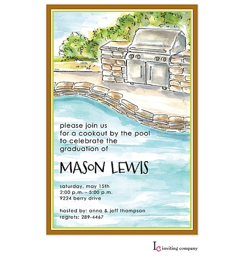 Poolside Grill Party Invitation- invite your friend for a cookout by the pool