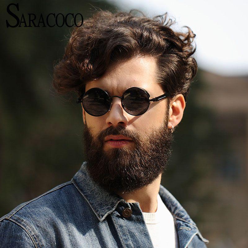 f441ef3d29 SARACOCO Fashion Brand Designer Steampunk Sunglasses Men Polarized 2017  Vintage Round Polaroid Lens Sun Glasses Oculos SR105