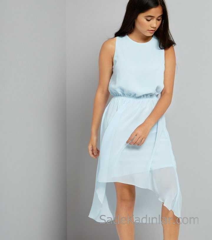 2020 Cocuk Abiye Elbise Bebek Mavisi Kolsuz Asimetrik Kesim Sifon 12 15 Yas Elbise Elbise Moda Stilleri Elbise Modelleri