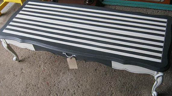 Elegant black and white striped coffee table by UpwithFurniture, $100.00
