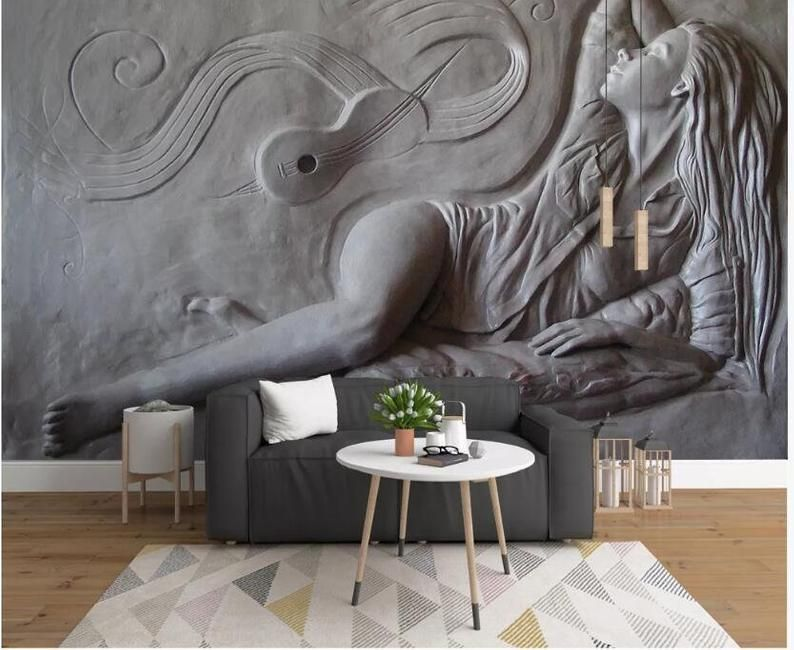 New 3D  Wallpaper Mural Embossed Cement Characters Sculpture  Wall Home Decor