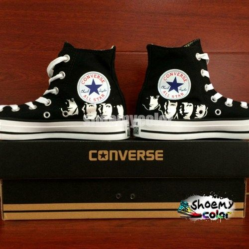 Hand Painted The Beatles Converse All Star Shoes Black High