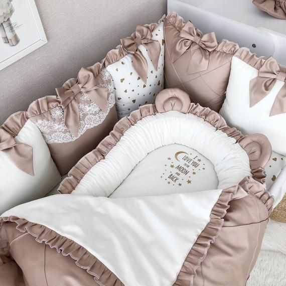 Baby girl blanket with lace and embroidery, baby nest with soft plush and lace