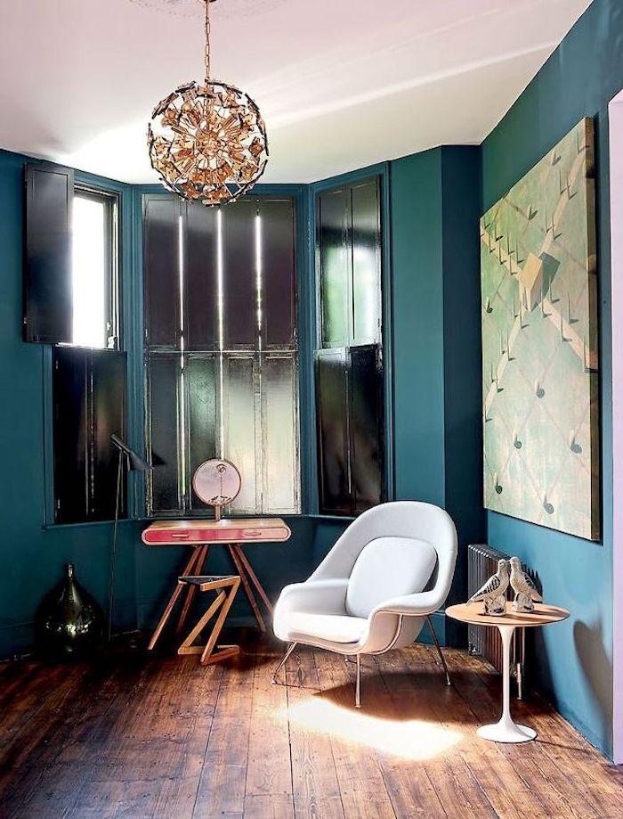 Déco salon bleu canard, paon, pétrole – du goudron et des plumes ...