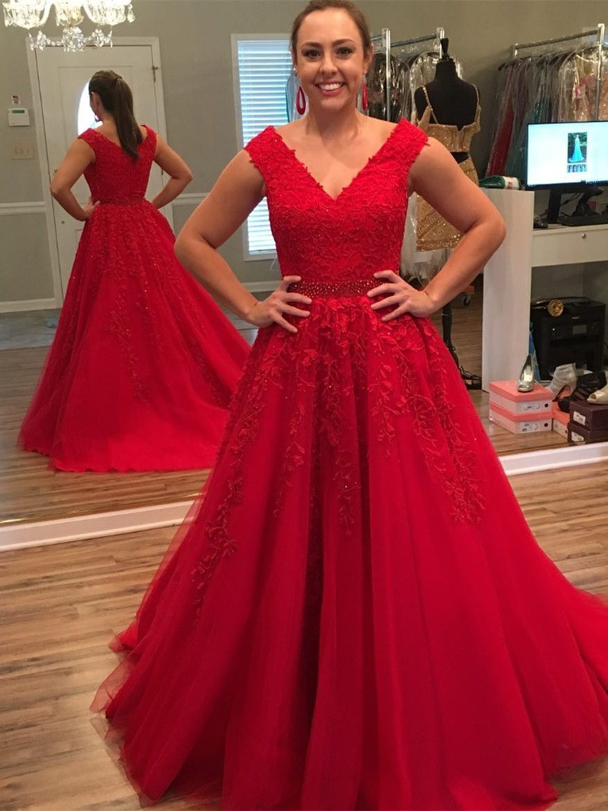 83ab6a820e583 Elegant V Neck Red Long Prom Dress Evening Dress from dreamdressy in ...