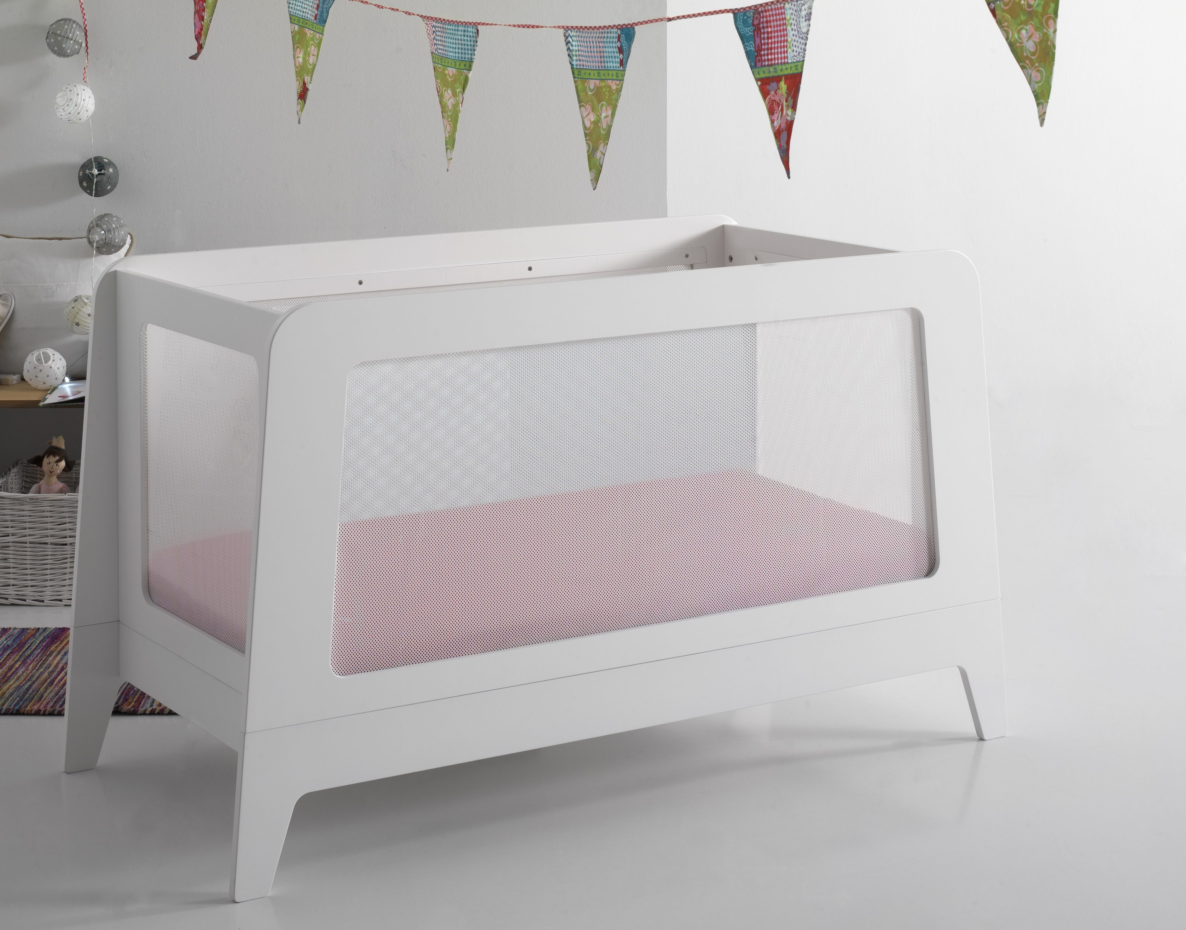 Full Size Modern Baby Crib With Unique Breathable Sides Made In