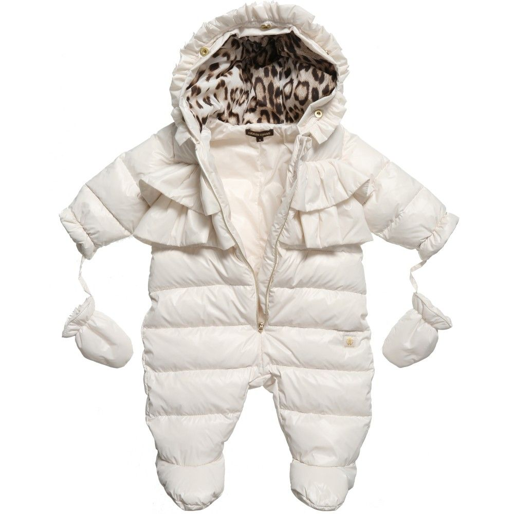d004a469e Baby girls gorgeous down padded snowsuit with feet by Roberto Cavalli, made  from silky polyamide