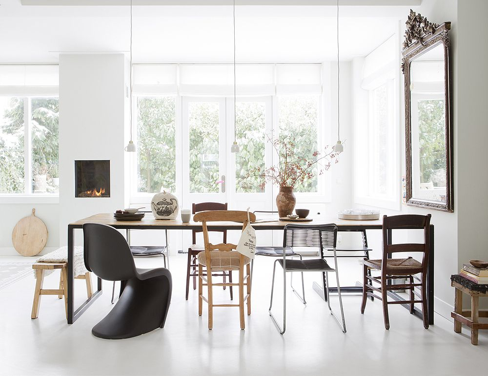 Black Panton S Chair White Dining Room Wood Table Mixed