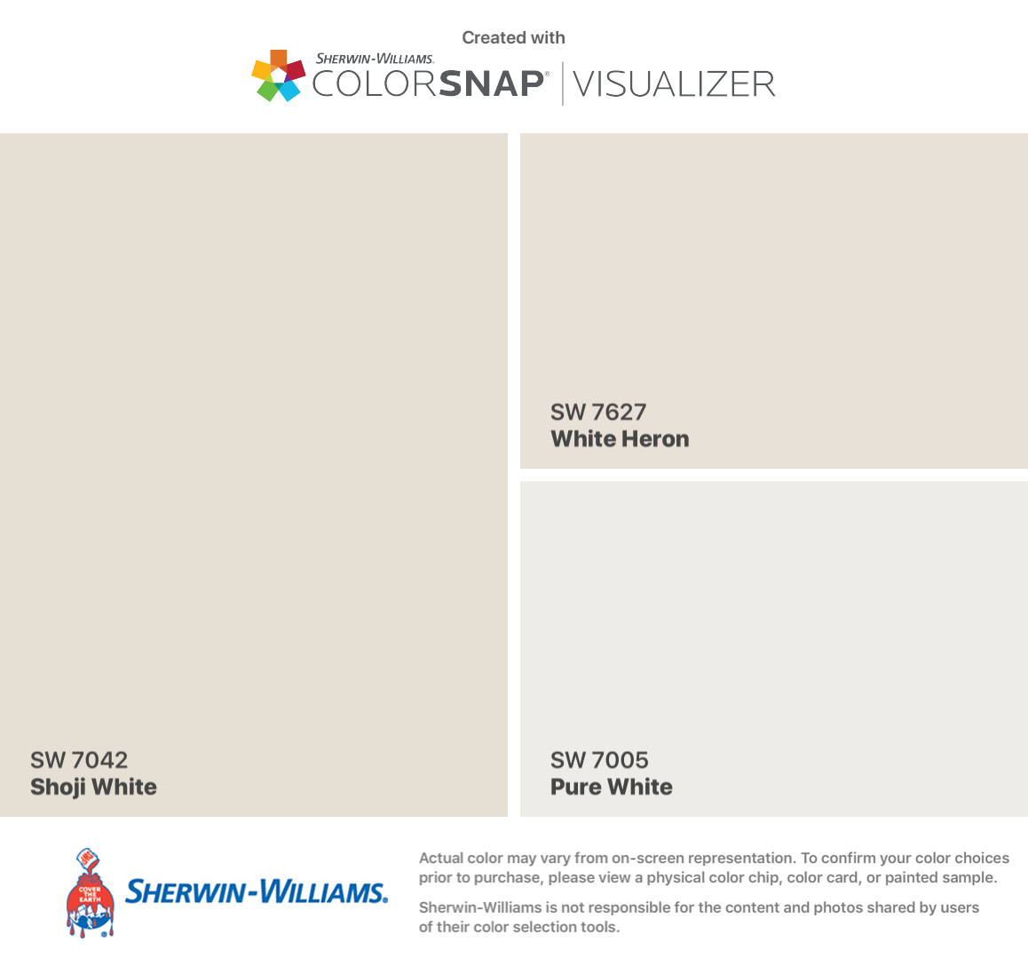 Sherwin Williams Shoji White Sw 7042 Walls White Heron Sw