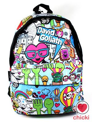 David   Goliath Multi coloured Backpack. Find this Pin and more on Cute Bags  ... 58cd61a19eb82