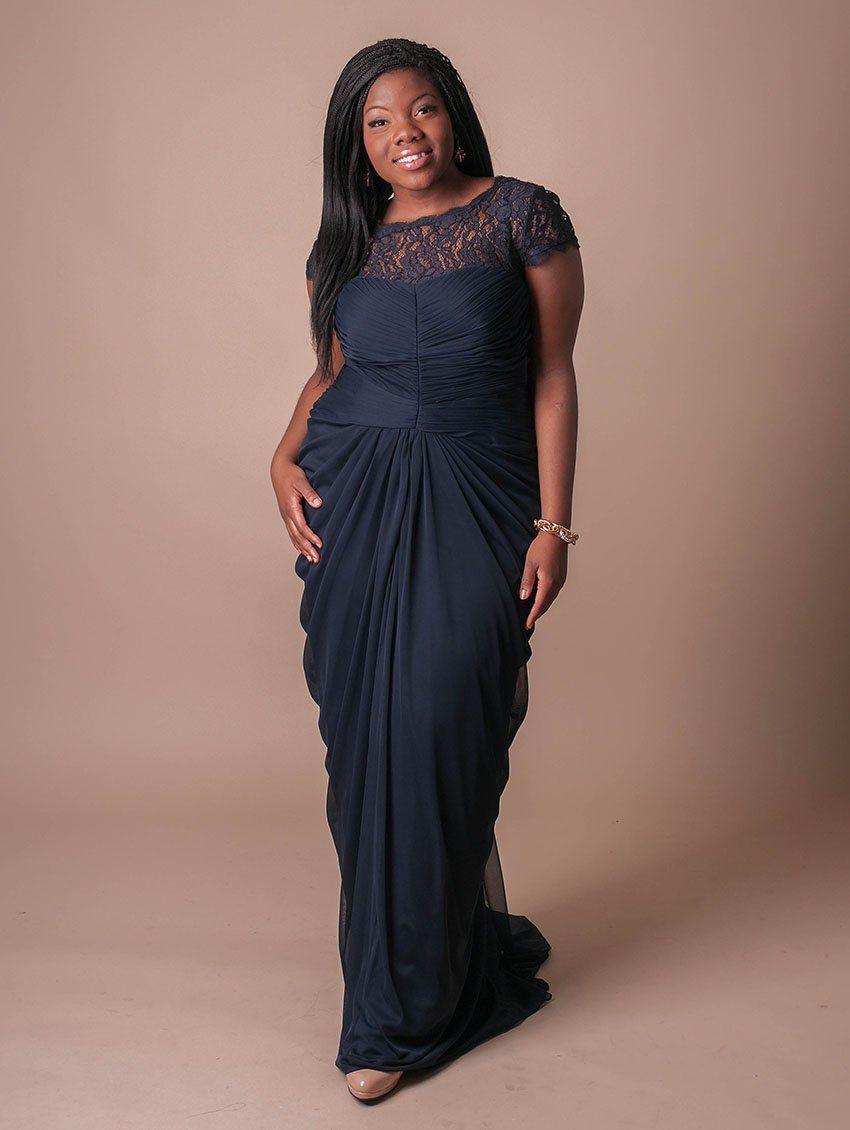 Lace Yoke Draped Dress @ L U C Y in INK (dark sapphire) size 22W ...