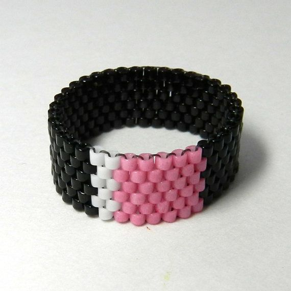 Peyote Stitch Ring | Pink Peyote Ring Beadwoven, Black and White ...