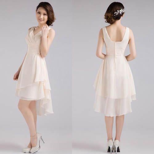 Ivory Knee Length High Low Short Wedding Bridal Party Bridesmaid Dress SKU-401462