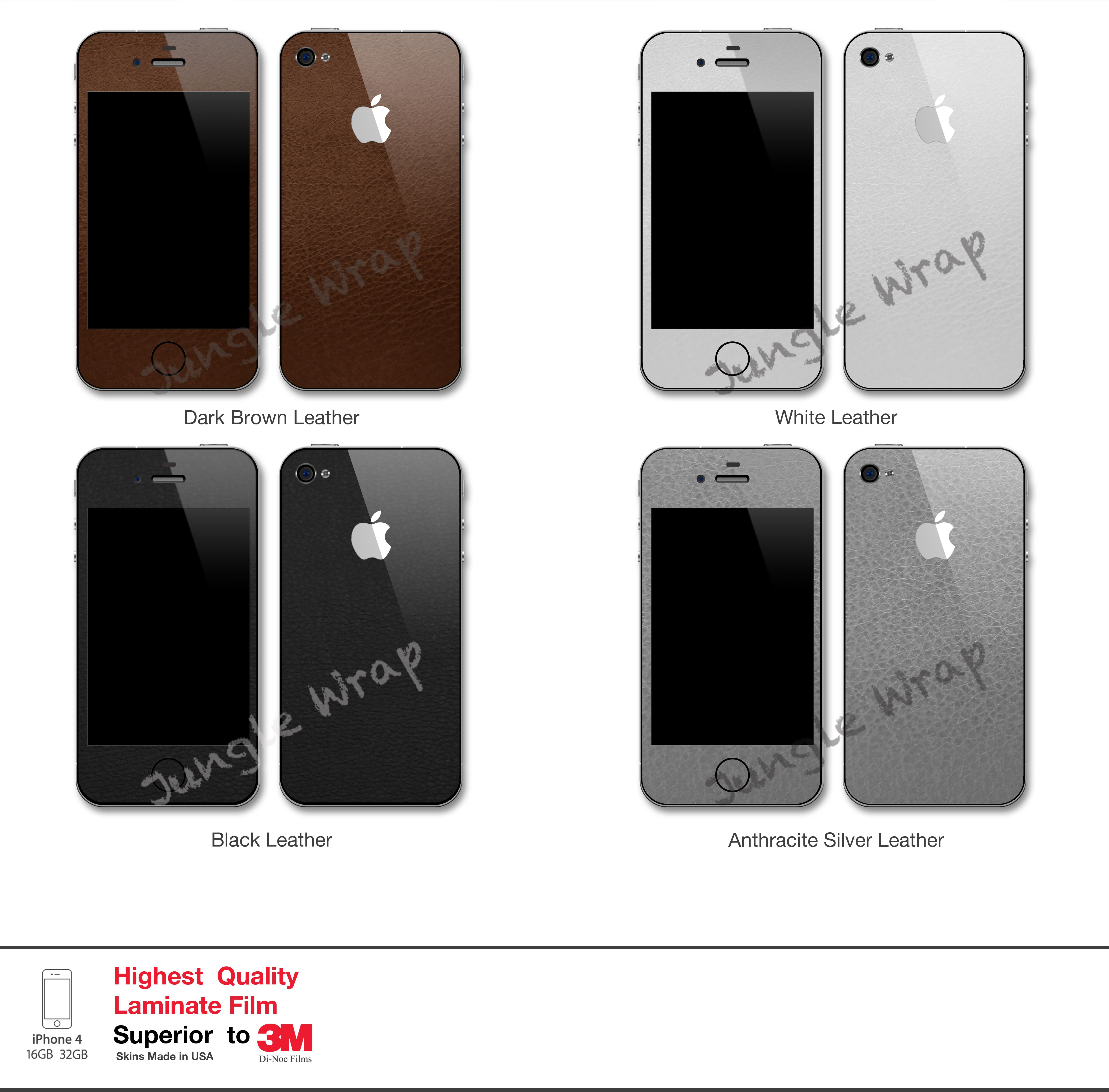 iPhone 4/4S Full Body Leather Skin Wrap Kits. Enhance your iPhone 4S with a true look and feel of Leather.