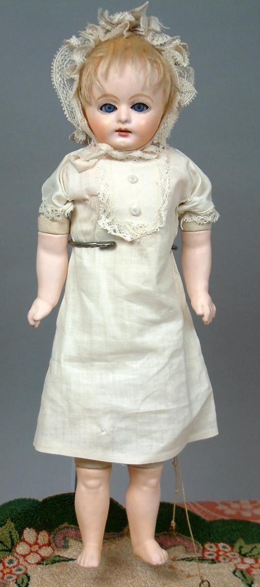 Early Papier Mache Baby~Factory Original Costume~Sleep Eyes & Working from kathylibratysantiques on Ruby Lane