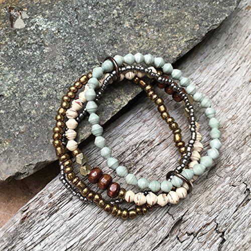 Paper Bead Stretch Confidence Bracelet Set - Sage - Fair Trade BeadforLife Jewelry from Africa - Wedding bracelets (*Amazon Partner-Link)