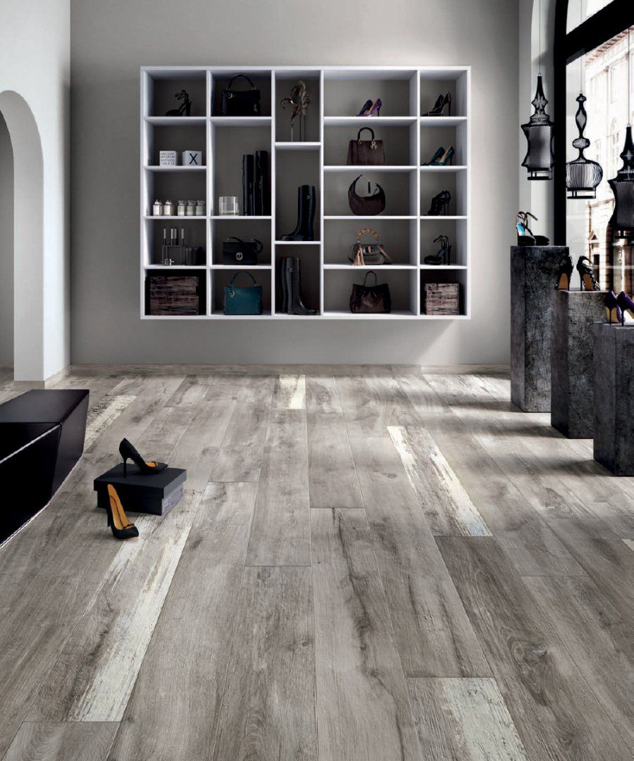 Gray And White Walls With Black And White Trim Wood Look